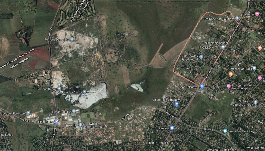 Map of Pomona residential and dumpsite, Harare, Zimbabwe.